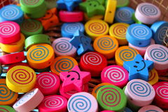 Wooden beads for children. Painted wooden beads and decorative for children Royalty Free Stock Photography