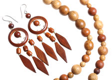 Wooden beads and earrings Royalty Free Stock Photography