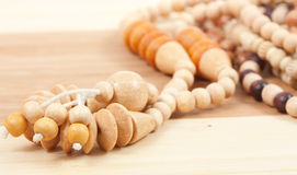 Wooden beads necklaces Royalty Free Stock Photo