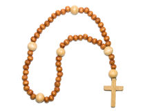 Wooden beads over whire Stock Photo