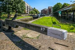 Lock 87 on the Canal. The wooden beam of the Lock 87 down at Wigan Pier Royalty Free Stock Image