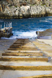 Wooden beams forming a boat slipway Stock Photos