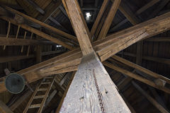 Wooden beams in historic tower Royalty Free Stock Image