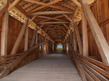 Wooden Beams Inside of a Covered Bridge Royalty Free Stock Photo