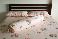Wooden bed Stock Image