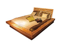 Wooden bed isolated Royalty Free Stock Image