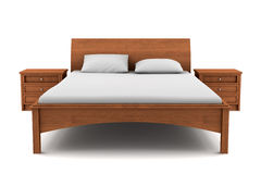 Wooden bed isolated on white background Stock Photos
