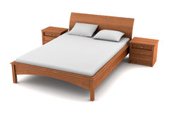 Wooden bed isolated on white background Stock Photography