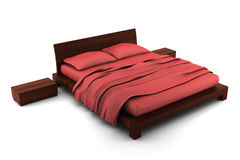 Wooden bed isolated on white background royalty free illustration