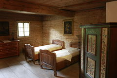 Wooden bed Stock Photo