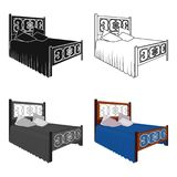 Wooden bed for teenager with graffiti on the back.Bed with blue linens.Bed single icon in cartoon style vector symbol. Stock web illustration Royalty Free Stock Photo
