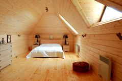 Wooden bedroom Royalty Free Stock Photos