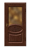 Wooden bedroom door. Beautiful wooden door in a classic style with a glass showcase and patterned swirls Royalty Free Stock Photography