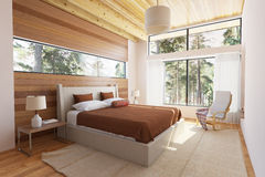 Wooden bedroom interior Royalty Free Stock Images