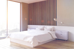 Wooden bedroom interior, side, toned Stock Photos