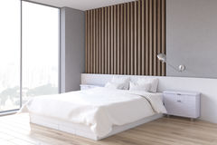 Wooden bedroom interior, side Stock Image