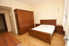 Wooden bedroom stock photos