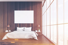 Wooden bedroom with poster, toned Royalty Free Stock Photography