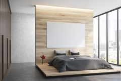 Wooden bedroom, side view Stock Photos