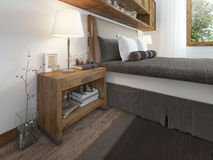 Wooden bedside table with a niche for the decor. Bedside table with lamp and books beside the bed. A bed in a rustic style. 3D render Stock Image