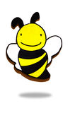 Wooden bee,bee icon. A pretty wooden bee on background Stock Photos