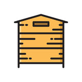 Wooden beehive, bee hive thin line flat style icon Stock Image