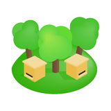 Wooden beehive in the forest isometric 3d icon. On a white background Stock Photo