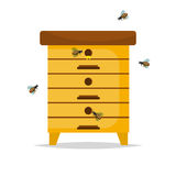 Wooden Beehive on white background. Traditional beehive natural beekeeper insect organic farm. Cartoon illustration beehive. Stock beehive nature honeycomb vector illustration