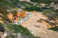 Wooden beehives in Crete Island Royalty Free Stock Images