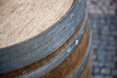 Wooden Beer Barrel. A closeup picture of a wooden barrel for a keg of beer Stock Images