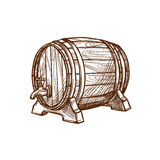 Wooden beer barrel vector sketch icon Stock Photos