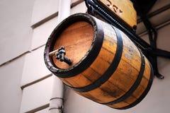 Wooden beer keg. Hanging beer keg from wood Royalty Free Stock Photo