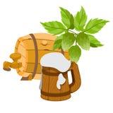 Wooden beer keg, a wooden mug of beer foam. Royalty Free Stock Images