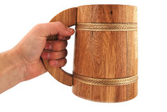 Wooden beer mug Stock Images