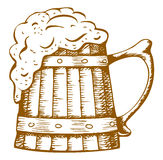 Wooden beer mug Stock Image