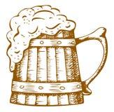 Wooden beer mug Stock Image