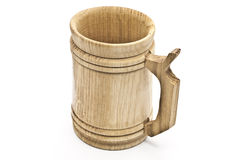 Wooden beer mug. On a white background Stock Images