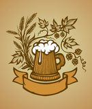 Wooden beer mug Stock Photo