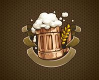 Wooden Beer mug with and froth Vector Illustration