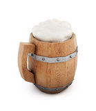 Wooden beer mug isolated on white background. 3d rendering Royalty Free Stock Photos