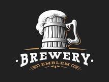 Wooden beer mug logo- vector illustration, brewery design. Wooden beer mug logo- vector illustration, emblem brewery design on dark background Royalty Free Stock Images