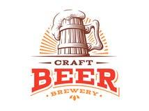 Wooden beer mug logo- vector illustration, brewery design. Wooden beer mug logo- vector illustration, emblem brewery design on white background Stock Image