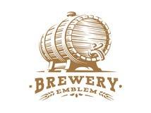Wooden beer mug logo - vector illustration, design emblem brewery. Wooden beer barrel logo - vector illustration, emblem brewery design on white background Stock Image