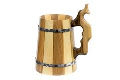 Wooden beer mug. Stock Photos