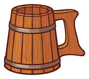 Wooden beer mug Stock Photography