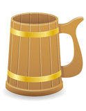 Wooden Beer Mug Vector Illustration Royalty Free Stock Image