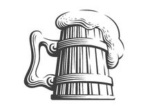Wooden beer mug - vector illustration on white background. Wooden beer mug - vector illustration, design on white background Stock Photos