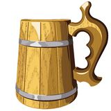 Wooden beer mug vector.No mash, no gradient Royalty Free Stock Photo