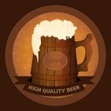Wooden beer mug in vintage style - high quality beer concept. Vector illustration stock illustration