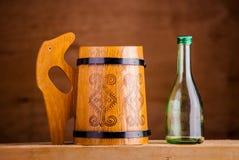 Wooden beer mug Royalty Free Stock Images